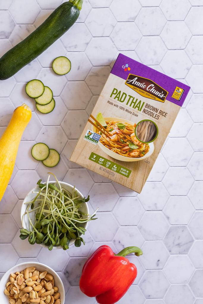 ingredients used for making vegan pad thai recipe on a kitchen counter