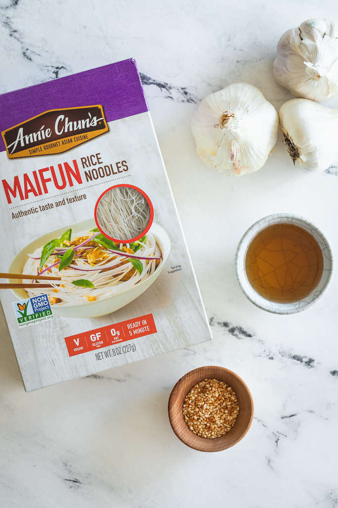 Annie Chun maifun noodles, toasted sesame oil, garlic and toasted sesame seeds