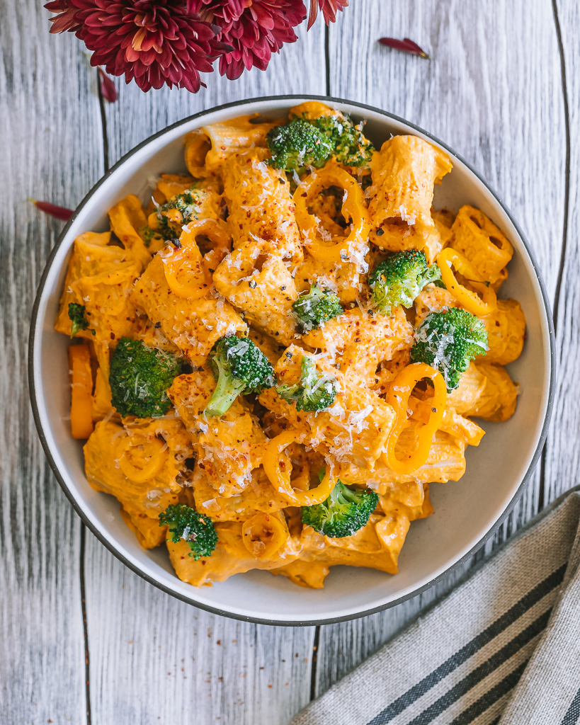 roasted red pepper pasta with broccoli and sweet yellow peppers