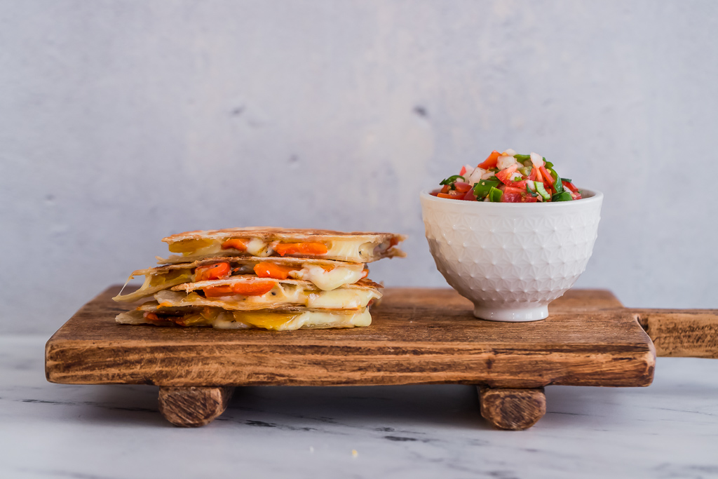 vegetarian roasted red bell pepper quesadillas with a side of salsa