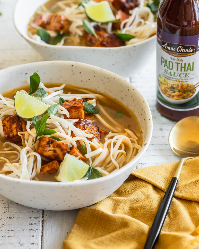 two bowls of instant pot pho with tofu